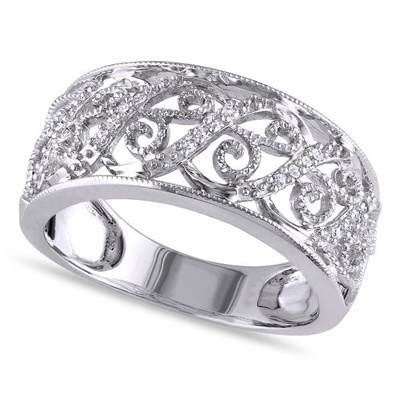 Ladies, Pave Set, Round, White Diamond Wide Ring Band in 14k White Gold 0.10ct
