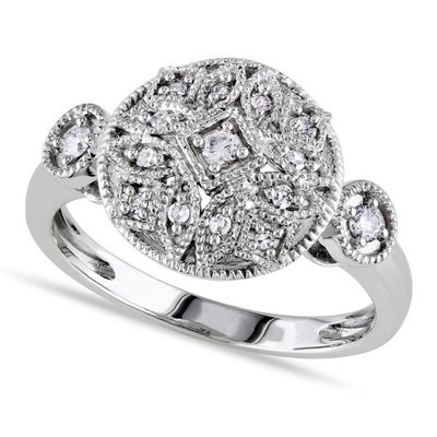 Ladies Cluster Diamond Ring with Side Stone Accents in 14k White Gold 0.14ct