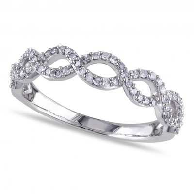 Ladies Twisted Semi Eternity Infinity Diamond Ring Set in 14k White Gold 0.25ct