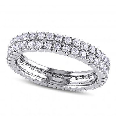 Double Row Eternity Diamond Wedding Band in 14K White Gold (1.00ct)