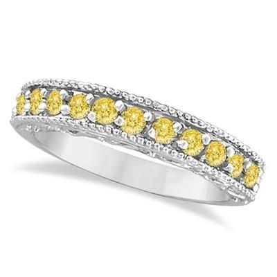 0.50ct Fancy Yellow Canary Diamond Ring Band Milgrain Edge 14k White Gold G-H