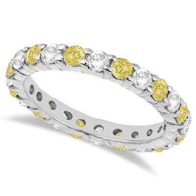 2.00ct Fancy Yellow Canary and White Diamond Eternity Ring Band 14k White Gold