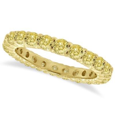 1.07ct Fancy Yellow Round Diamond Eternity Ring Anniversary Band 14k Gold