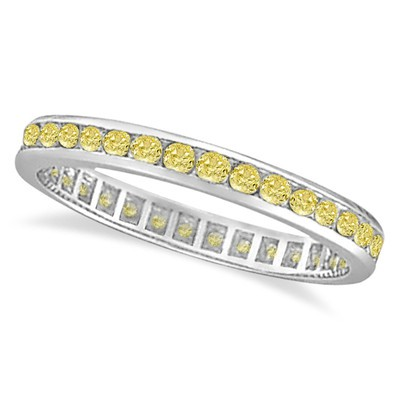 1.00ct Channel Set Fancy Yellow Canary Color Diamond Eternity Ring 14k W Gold