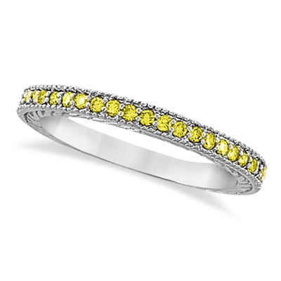 0.31ct Fancy Yellow Canary Thin Diamond Ring Band Stacking 14k White Gold