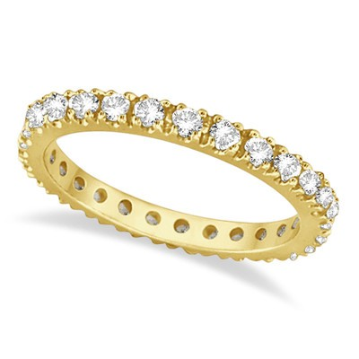 0.51ct Diamond Eternity Stackable Wedding Band 14K Yellow Gold Womens G-H/SI