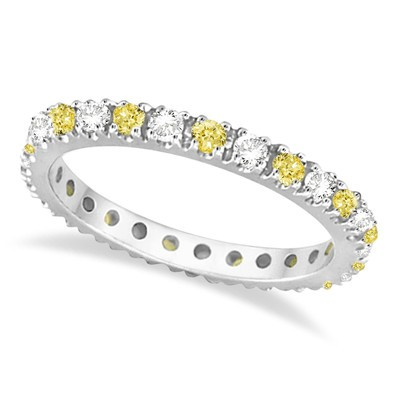 0.50ct Fancy Yellow Canary and White Diamond Eternity Ring Stackable Band 14K Gold
