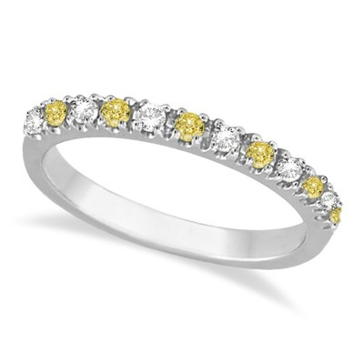 0.25ct Fancy Yellow Canary and White Diamond Stackable Ring Band 14k White Gold