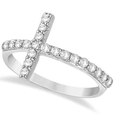 Modern Sideways Diamond Cross Fashion Ring Band in 14k White Gold (0.42 carat)