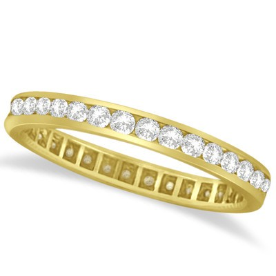 1.00ct Channel Set Diamond Eternity Ring Anniversary Band 14k Yellow Gold