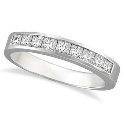 0.50ct Princess-Cut Channel-Set Princess Diamond Ring Band in 14k White Gold