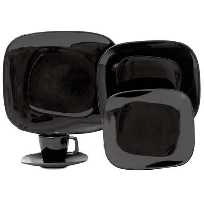Porcelain Plate Set - Black - 12 Pcs