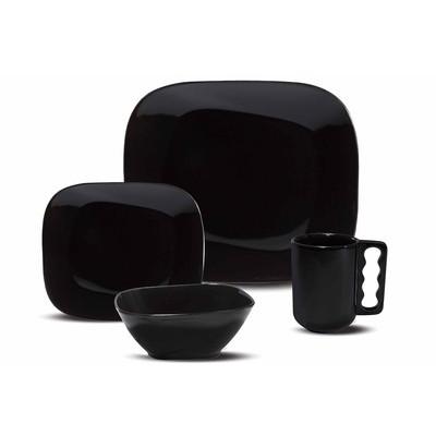 Dinnerware Set Service for 4 - Black - 16 Pieces