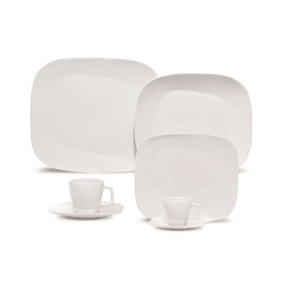 Porcelain Plate Set - White - 12 Pieces