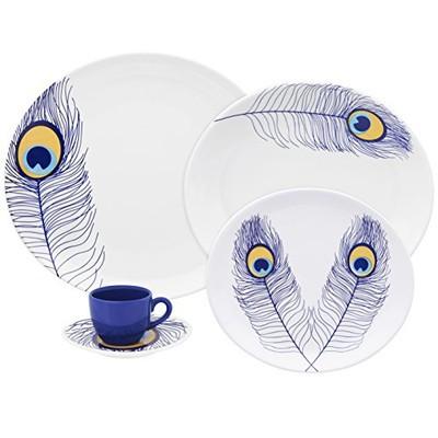 Loop Set of 20 Porcelain Dinnerware Set - Peacock