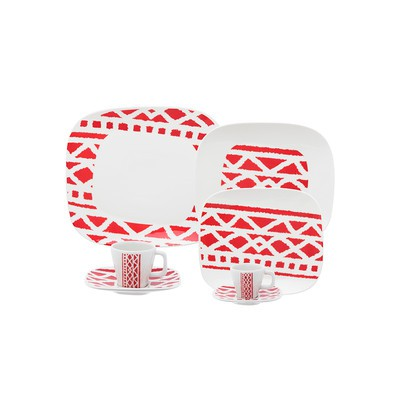 Shift Porcelain 12-Piece Dinnerware Set - Rubor Collection