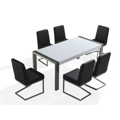 Dining Table - Stainless steel - High Gloss Top - White - 180 x 90 cm - ARCTIC