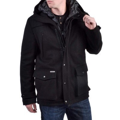 Projek Raw WOOL JACKET WITH REMOVABLE PUFFER FOOLER HOOD