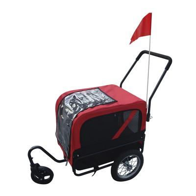 Deluxe 2-in-1 Pet Dog Jogging Stroller Carrier Bike Trailer With 360 Swivel Front Wheel