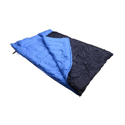 "86"" x 60"" Huge 2 person Double Sleeping Bag Camping Blue/Black with 2 Pillows"