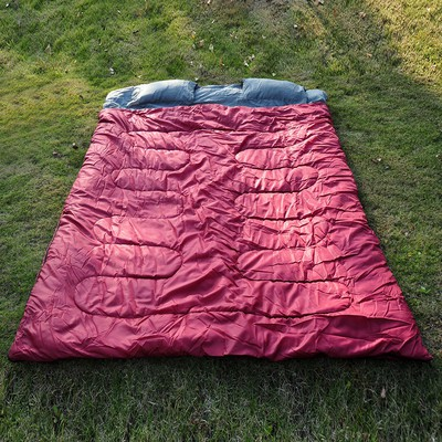 "86"" x 60"" Huge 2 person Double Sleeping Bag Camping Red/Gray with 2 Pillows"