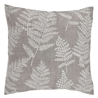 Large grey cushion with white leaves SET of TWO