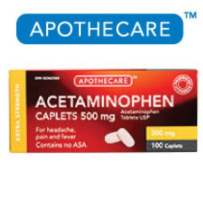 Apothecare Acetaminophen Extra Strength 100 Caplets - 500mg