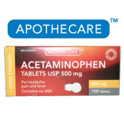 Apothecare Acetaminophen Extra Strength 100 Tablets - 500mg