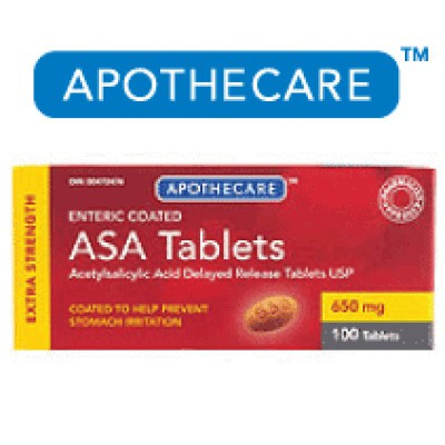 Apothecare ASA Tablets Enteric Coated Extra Strength 100 Tablet - 650mg