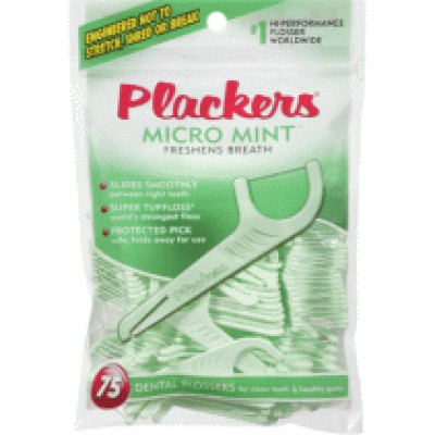 Plackers Flossers 75 Flossers  -  Micro Mint