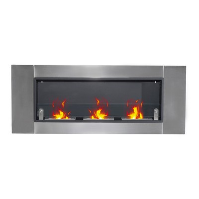 "53.5"" Indoor Rectangular Wall Mounted Bio Ethanol Fireplace"