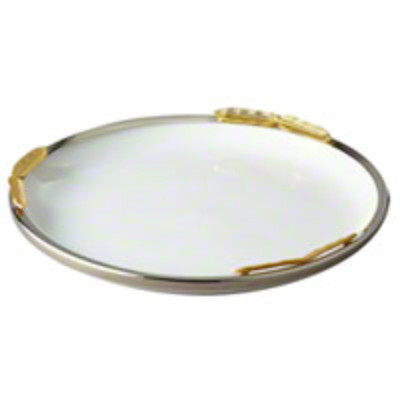 "Gold Feather Round Platter 11"""