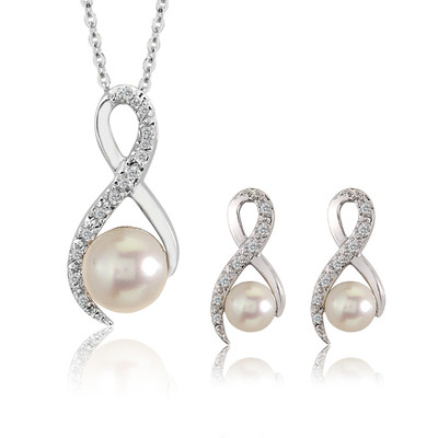 14K White Gold Diamond And White Pearl Pendant And Earrings Set (0.1 Cttw, G-H Color, I2-I3 Clarity)