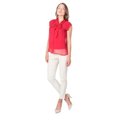 Tetiana K Women's Silk Bow Blouse, Red