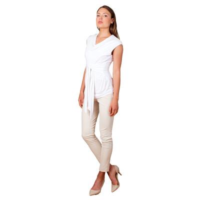 Tetiana K Women's Front Ties Shirt, White