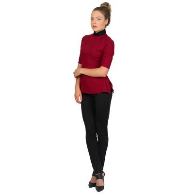 Tetiana K Women's Contrast Collar Blouse, Red