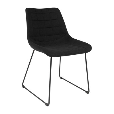 Kanto GRACE Quilted Wool Side Chairs with Black Legs - Set of 2