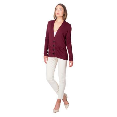Tetiana K Women's Bow Pockets Cardigan, Maroon