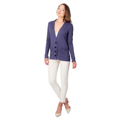 Tetiana K Women's Bow Pockets Cardigan, Purple