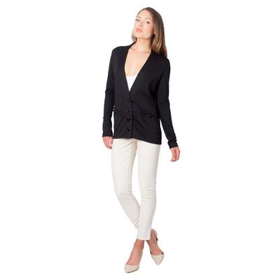 Tetiana K Women's Bow Pockets Cardigan, Black