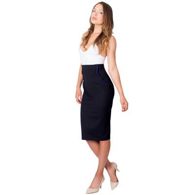 Tetiana K Women's High Waisted Accent Skirt, Navy