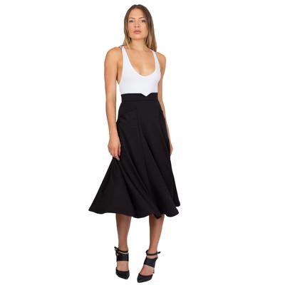 Tetiana K Women's Notch Midi Swing Skirt w/ Pockets, Black