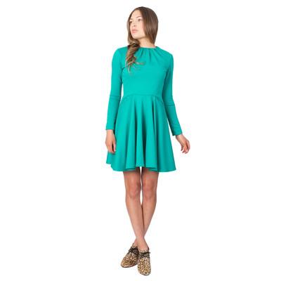 Tetiana K Women's Flared Dress With Pockets, Jade Green