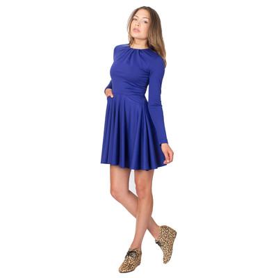 Tetiana K Women's Flared Dress With Pockets, Cobalt Blue