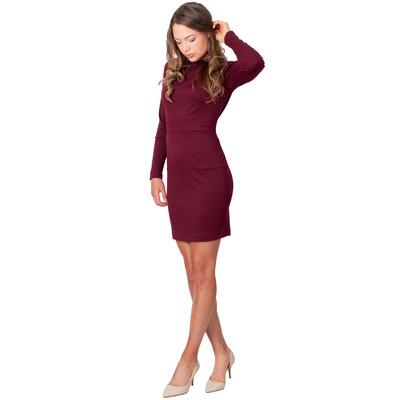 Tetiana K Women's Long Sleeved Dress With Pockets, Maroon