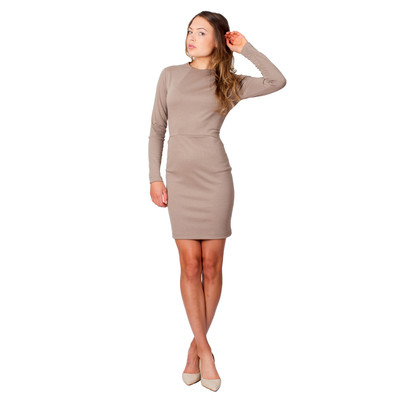 Tetiana K Women's Long Sleeved Dress With Pockets, Taupe