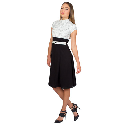 Tetiana K Women's Fit and Flare Dress With Belt, Black