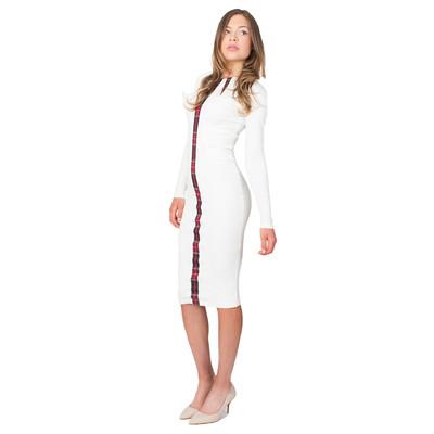 Tetiana K Women's Tartan Accent Dress, Ivory