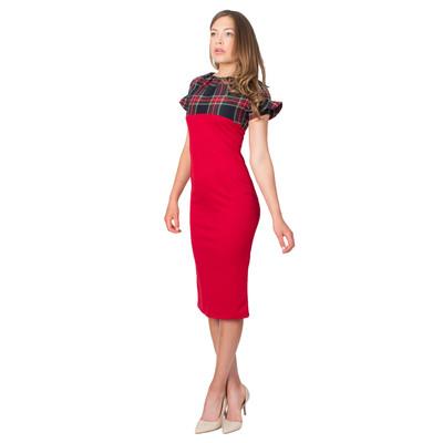 Tetiana K Women's Tartan Bodice Dress, Red