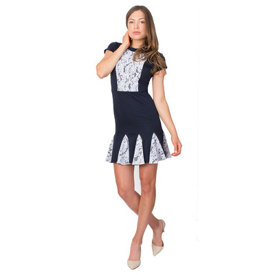 Tetiana K Women's Lace Inset Dress, Navy